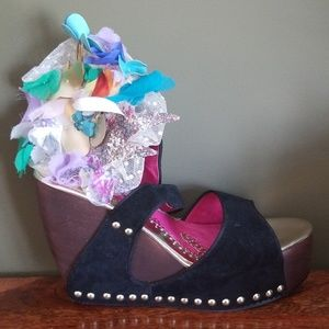 Irregular Choice Suede Ankle Strap Wedge Sandals